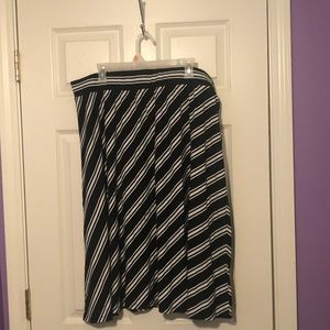 Faded Glory Striped Black and White Maxi Skirt